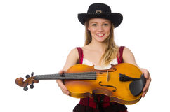 Young violin player isolated Stock Image