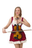 Young violin player isolated Royalty Free Stock Photo