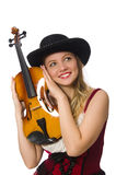 Young violin player. Isolated on white Royalty Free Stock Image