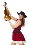 Young violin player. Isolated on white Stock Photography