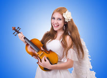 Young violin player isolated on white Stock Photos