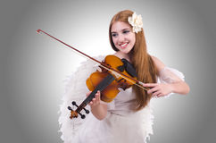 Young violin player. On white Royalty Free Stock Image