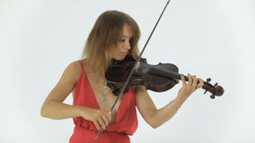 Young violinist playing on her a musical stock video