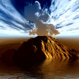 Young volcano. Is being born Royalty Free Stock Photography