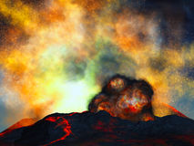 Young volcano being born. Illustration of young volcano being born Stock Photography