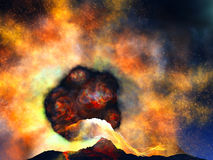 Young volcano being born. Illustration of young volcano being born Royalty Free Stock Photos