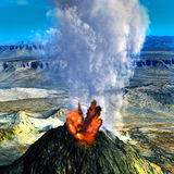 Young volcano being born. Illustration of the  volcano being born Stock Image