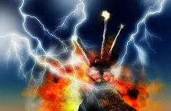 Young volcano being born with lightnings. Illustration of Young volcano being born Royalty Free Stock Image