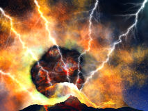 Young volcano  eruption. Young volcano being born with lightnings Royalty Free Stock Image