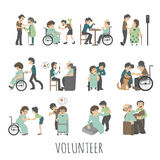 Young volunteer set Royalty Free Stock Photo
