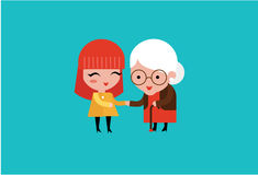 young volunteer woman caring for elderly woman stock illustration
