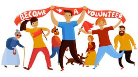 Young Volunteering Enthusiasts Composition. Volunteers composition with young people and teenage kids flat cartoon style characters holding banner and flags Stock Photo