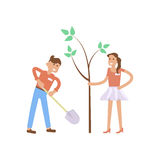 Young volunteers man and woman Royalty Free Stock Image