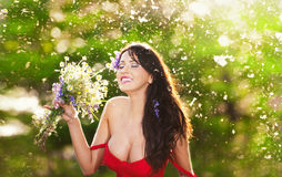 Young voluptuous brunette holding  a wild flowers bouquet in a sunny day. Portrait of beautiful woman with low-cut red dress laugh Royalty Free Stock Image