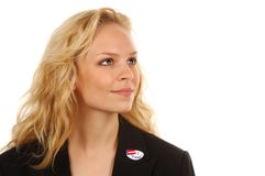 Young Voter. Young woman US voter with ID sticker Stock Image