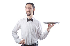 Young waiter with  tray Royalty Free Stock Photos