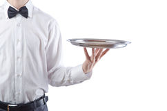 Young waiter with tray Stock Photos
