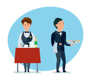 Young waiters spill drinks and carry sweets in branded clothes. Staff of hotels. Young waiters spill drinks and carry sweets in branded clothes. Modern vector Royalty Free Stock Images