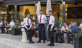 The young waiters in a restaurant,croatia Stock Image