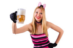 Young waitress with beer. On white Royalty Free Stock Images