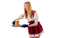 Young waitress with beer. On white Stock Photos
