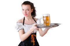 Young waitress with beer Royalty Free Stock Image