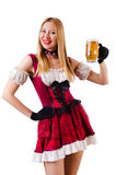 Young waitress with beer. On white Stock Photo