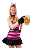 Young waitress with beer. On white Royalty Free Stock Image