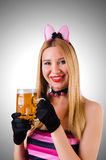 Young waitress with beer. On white Royalty Free Stock Photo
