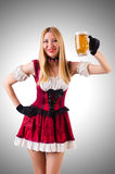 Young waitress with beer Stock Images