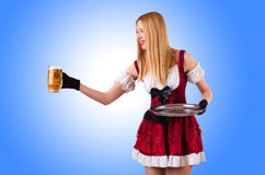 Young waitress with beer Royalty Free Stock Images