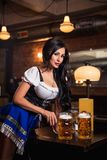 Young waitress brings beer to visitors Stock Photography