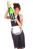 Young waitress with champagne Royalty Free Stock Image