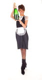 Young waitress with champaign Royalty Free Stock Images