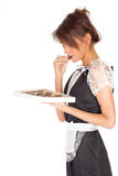 Young waitress with chocolates box Stock Photos