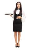Young waitress holding a gray metal tray Stock Photos