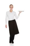 Young waitress holding tray Stock Photography