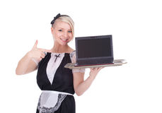 Young waitress with laptop Stock Photography