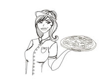 Young waitress with pizza Royalty Free Stock Photography