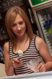 Young Waitress Serving Icecream Stock Photos