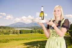Young waitress with tray Royalty Free Stock Photo