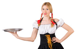 Young waitress with tray Royalty Free Stock Photos