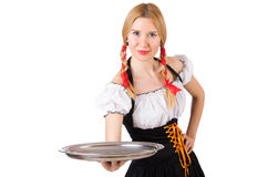 Young waitress with tray. On white Royalty Free Stock Photography