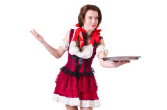 Young waitress with tray Royalty Free Stock Image