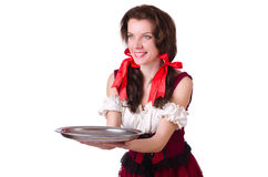 Young waitress with tray Stock Photo