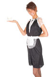 Young waitress with white cup Royalty Free Stock Photos