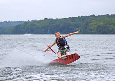 Young Wakeboarder Falling Royalty Free Stock Images