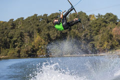 Young Wakeboarder Performing Tricks Stock Photography