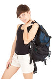 Young walker girl with backpack Royalty Free Stock Image