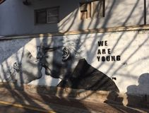 We are young. Wall painting on the street in Seoul Royalty Free Stock Photos